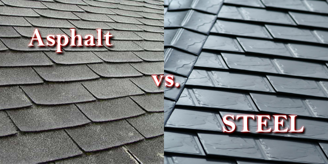 image of asphalt shingles vs steel shingles