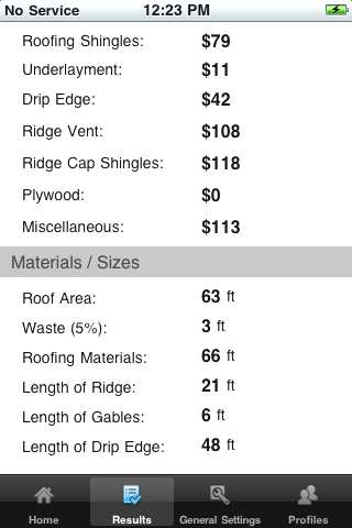 iPhone Roofing Calculator results page