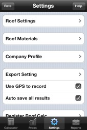 image of Roofing Calculator v2 - Settings Screen